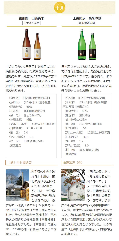日本名門酒会頒布会2018年秋冬コース10月