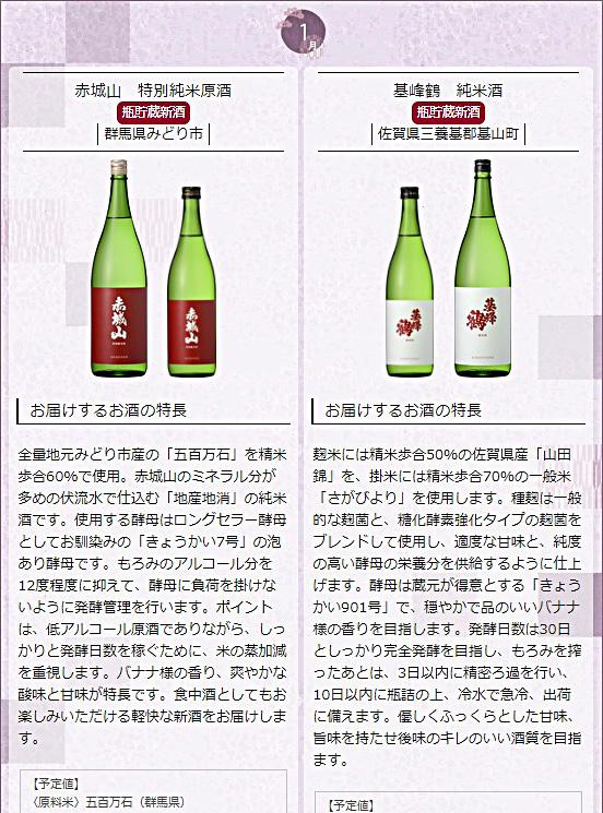 日本名門酒会頒布会2020年秋冬コース1月酒