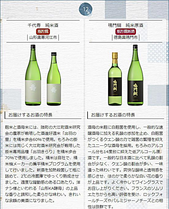 日本名門酒会頒布会2020年秋冬コース12月酒