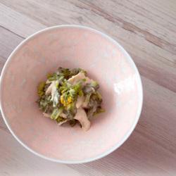 一ノ蔵米みそドレッシングレシピ(菜の花とササミのわさび和え)