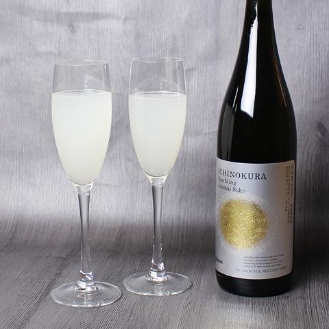 一ノ蔵スパークリング純米酒とグラス