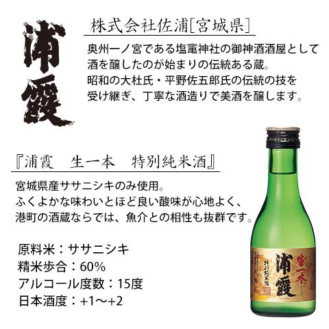 浦霞生一本特別純米酒180ml【セット用紹介文】